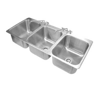 "Advance Tabco DI-3-1612 Drop-In Sink - (3) 16x20x12"" Bowl, Deck Mount Swing Spout, 18-ga 304 Stainless"