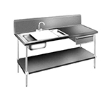 "Advance Tabco DL-30-96 96"" Prep Table Sink Unit - (2) Sinks, Deck Mount Gooseneck"