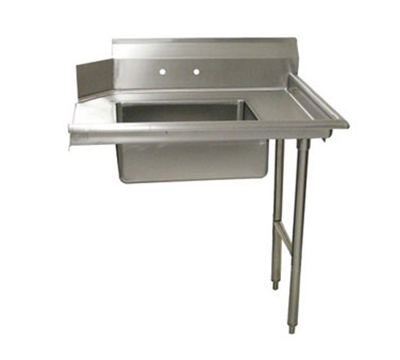 "Advance Tabco DTS-S60-48R 48"" R-L Straight Soil Dishtable - 10.5"" Backsplash, Galvanized Legs, 16-ga Stainless"