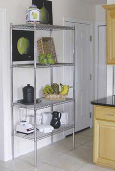 "Advance Tabco ECC-1448RE Residential Shelving Unit - 4-Shelves, 4-Posts, 74x14x42"", Wire, Chrome"