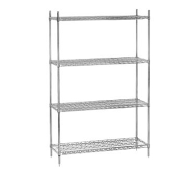 "Advance Tabco ECC-2448 48"" Chrome Shelving Unit - 4-Shelves, Posts, 24"" D"