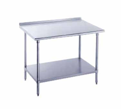 "Advance Tabco FLG-248 96"" Work Table - Galvanized Frame, Raised Rear Edge, 24"" W, 14-ga 304 Stainless"