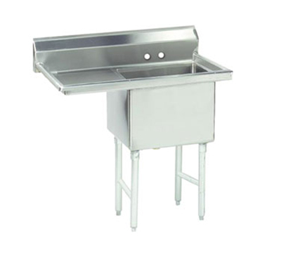 "Advance Tabco FS-1-3624-24L Fabricated Sink - 36x24x14"" Bowl, 24"" Left Drainboard, 14-ga 30"