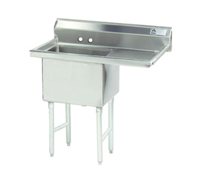 "Advance Tabco FS-1-1818-18R Fabricated Sink - 18x18x14"" Bowl, 18"" Right Drainboard, 14-ga 304-Stainl"