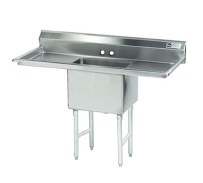 "Advance Tabco FS-1-2424-18RL Fabricated Sink - 24x24x14"" Bowl, 18"" R-L Drainboard, 14-ga 304-Stainless"
