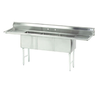"Advance Tabco FC-3-1515-15RLX Fabricated Sink - (3) 15x15x14"" Bowl, 15"" R-L Drainboards, 16-ga 304-Stainless"