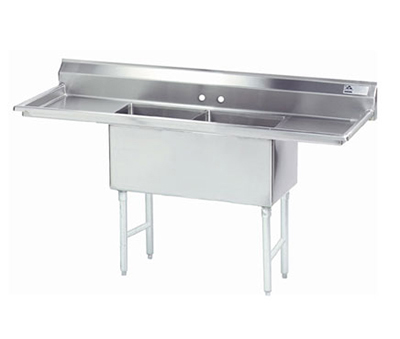 "Advance Tabco FC-2-1818-24RLX Fabricated Sink - (2) 18x18x14"" Bowl, 24"" R-L Drainboards, 16-ga 304-Stainless"