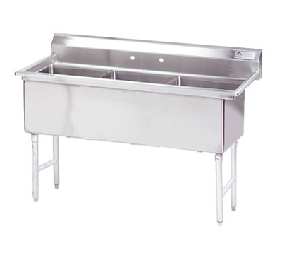"Advance Tabco FS-3-1818 Fabricated Sink - (3) 18x18x14"", Tile Edge Splash, 14-ga 304-Stainless"