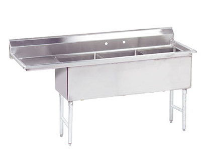 "Advance Tabco FS-3-1824-24L Fabricated Sink - (3) 18x24x14"", 24"" Left Drainboard, 14-ga 304-Stainless"