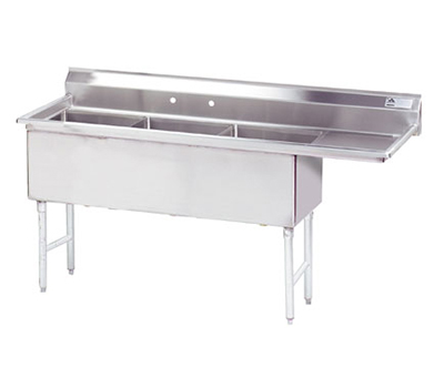"Advance Tabco FS-3-1824-24R Fabricated Sink - (3) 18x24x14"", 24"" Right Drainboard, 14-ga"