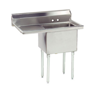 "Advance Tabco FE-1-1812-18L Fabricated Sink - 18x18x12"" Bowl, 18"" Left Drainboard, 18-ga 304-Stainless"