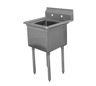 "Advance Tabco FE-1-1812 Fabricated Sink - 18x18x12"" Bowl, Tile Edge Splash, 18-ga 304-Stainless"