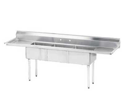 "Advance Tabco FE-3-1824-24RLX Fabricated Sink - (3) 18x24x14"" Bowl, 24"" R-L Drainboards, 18-ga 304-Stainless"