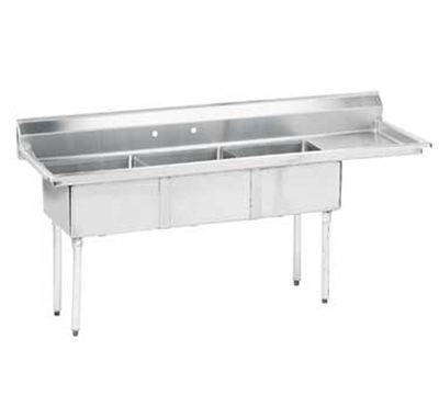 "Advance Tabco FE-3-1812-18R Fabricated Sink - (3) 18x18x12"" Bowl, 18"" Right Drainboard, 18-ga 304-Stainless"