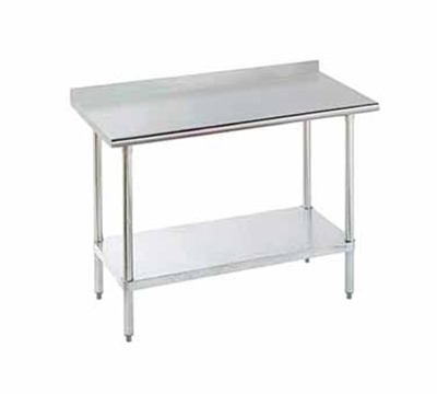 Advance Tabco FLAG-248 Work Table w/ Adjustable Undershelf & 1.5-in Rear Splash, 24x96-in, 16-ga 430-Stainless