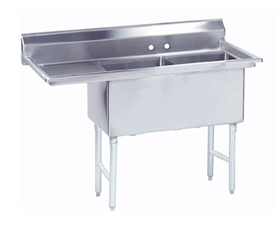 "Advance Tabco FC-2-1818-18L Fabricated Sink - (2) 18x18x14"" Bowl, 18"" Left Drainboard, 16-ga 304-Stainless"