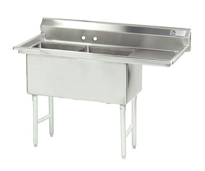 Advance Tabco FS-2-1824-24R Fabricated Sink - (2) 18x24x14&quot