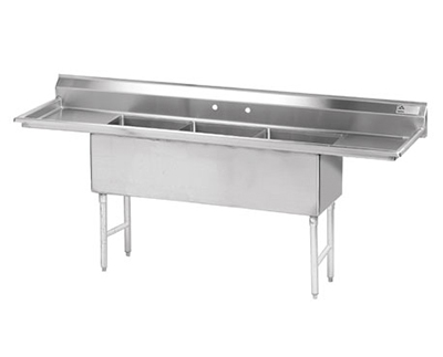 "Advance Tabco FS-3-2424-24RL Fabricated Sink - (3) 24x24x14"", 24"" R-L Drainboard, 14-ga 304-Stainless"