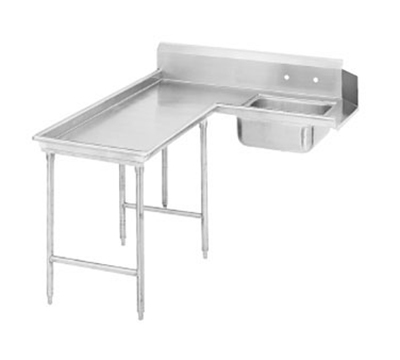 "Advance Tabco DTS-G30-96L 95"" L-R Island Soil Dishtable - 10.5"" Backsplash, Stainless Legs, 14-ga Stainless"