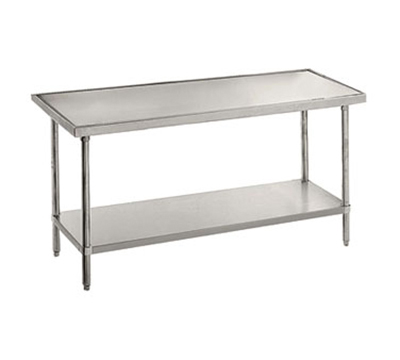"Advance Tabco VLG-489 108"" Work Table - Galvanized Frame, Non-Drip Edge, 48"" W, 14-ga 304-Stainless"