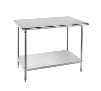 "Advance Tabco AG-248 Work Table - Adjustable Undershelf, Gussets, 24x96"", 16-ga 430-Stainless"