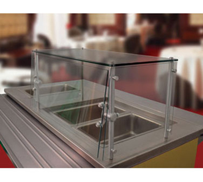 Advance Tabco GSGC-15-144 Cafeteria Style Food Shield - Glass Top Shelf, 100-lb Capacity, 15x144x18