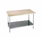 "Advance Tabco H2G-308 96"" Work Table - 1-3/4"" Wood Top, Galvanized Shelf, 30"" W"
