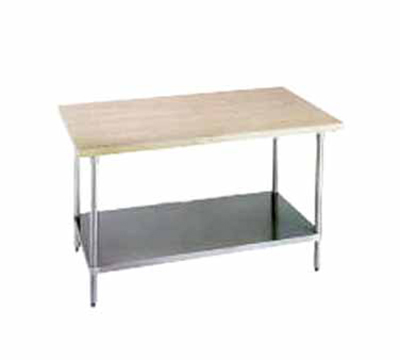 "Advance Tabco H2G-244 48"" Work Table - 1-3/4"" Wood Top, Galvanized Shelf, 24"" W"