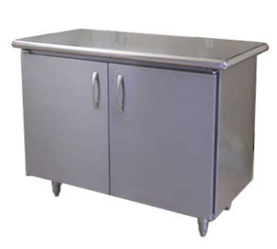 "Advance Tabco HBSS248MRE 96"" Chef Island Table - Cabinet Base, Hinged Doors, Midshelf, 24"" W"