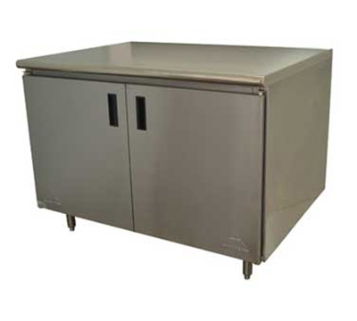 "Advance Tabco HB-SS-369M 108"" Work Table - Cabinet Base, Hinged Doors,"