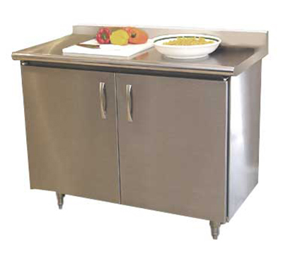 "Advance Tabco HKSS308MRE 96"" Chef Table - Cabinet Base, 5"" Backsplash, 30"" W, 14-ga 304-Stainless"