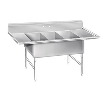 "Advance Tabco K7-3-2030-24RL Fabricated Sink - (3) 30x20x14"" Bowl, 24"" L-R Drainboards, 16-ga 300-Stainless"