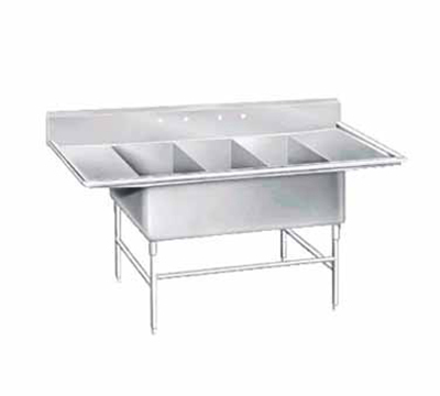 "Advance Tabco K7-3-3030-24RL Fabricated Sink - (3) 30x30x14"" Bowl, 24"" L-R Drainboards, 16-ga 300-Stainless"
