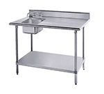 "Advance Tabco KMS-11B-306L 72"" Work Table - Left Sink, 5"" Backsplash, 30"" W, 16-ga 304-Stainless"