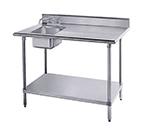 "Advance Tabco KMS-11B-306L 72"" Work Table - Left Sink, 5"" Backsplash, 30"" W, 16-ga 304-Stain"