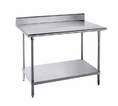 "Advance Tabco KMS-244 48"" Work Table - Adjustable Undershelf, Rear Splash,  24"" W, 16-ga 304-Stainless"