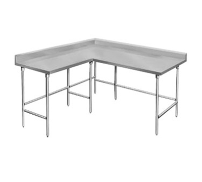 "Advance Tabco KTMS-249 108"" L Shape Work Table - 5"" Backsplash, 24"" W, 14-ga 304 Stainless"