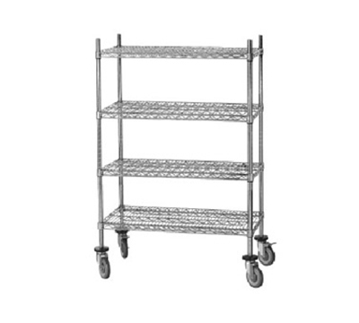 "Advance Tabco MC-1836R Chrome Shelving Cart - Rubber Casters, 18x36x69"" H"