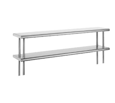 "Advance Tabco ODS-10-120R 120"" Old Style Table Mount Shelf - 2-Deck, Rear Turn Up, 10"" W, 18-ga 430-Stainless"