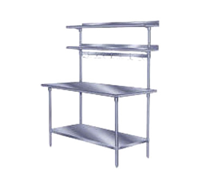 "Advance Tabco PT-18R-144 144"" Table Mount Shelf - 1-Deck, Rear-Mount, 18"" W, Sta"