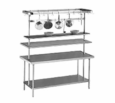 "Advance Tabco SCT-72 72"" Table Mount Pot/Utensil Rack - (18) Hooks, Stainless"