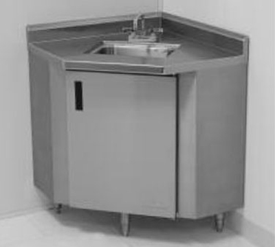 "Advance Tabco SHK-1735 Stand-Alone Corner Sink Cabinet - (1) 14x10x10"" Bowl"