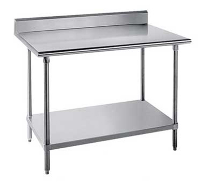 "Advance Tabco SKG-305RE 60"" Chef Table - 5"" Backsplash, Bullet Feet, 30"" W, 16-ga 430-Stainless"