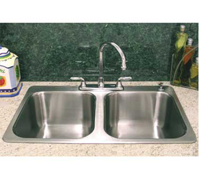 "Advance Tabco SS-2-4521-10RE Residential Drop-In Sink - (2) 20x16x10"" Bowl, 18-ga"