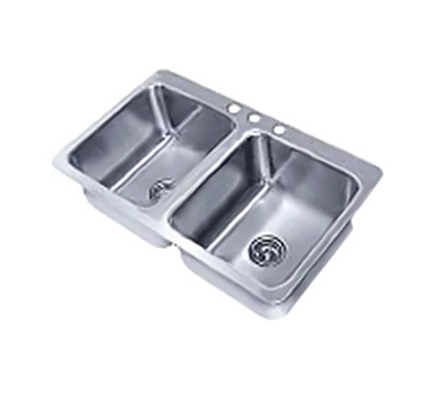 "Advance Tabco SS-2-3321-10 Drop-In Sink - (2) 14x16x10"" Bowl, 3-Hole, 18-ga 304-Stainless"