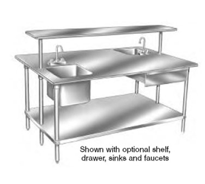 "Advance Tabco GLG-489 108"" Work Table - Galvanized Frame, 48"" W, 14-ga"