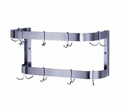 "Advance Tabco SW-72 72"" Wall Mount Pot Rack - 18-Double Hooks, Double Bar, Stainless"