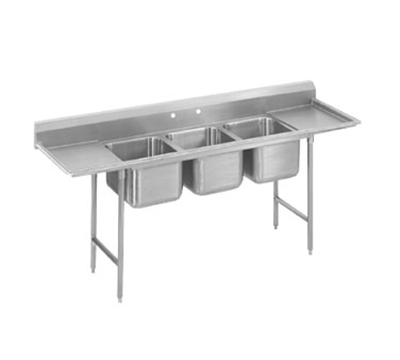 "Advance Tabco T9-3-54-18L 77"" Sink - (3) 20x16x12"" Bowl, 18"" Left Drainboard, Galvanized Frame"