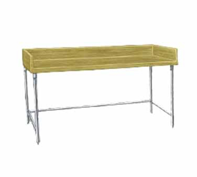 "Advance Tabco TBG-368 96"" Bakers Top Work Table - 36""W, Wood Top, Galvanized Le"