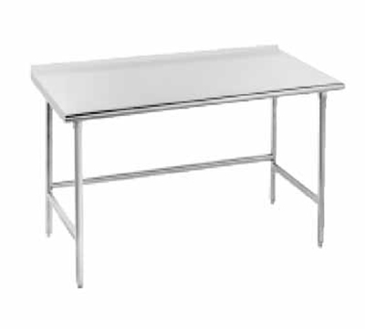 "Advance Tabco TFMS-2410 120"" Work Table - 1.5"" Turn Up, 24"" W, 16-ga 304-Stai"